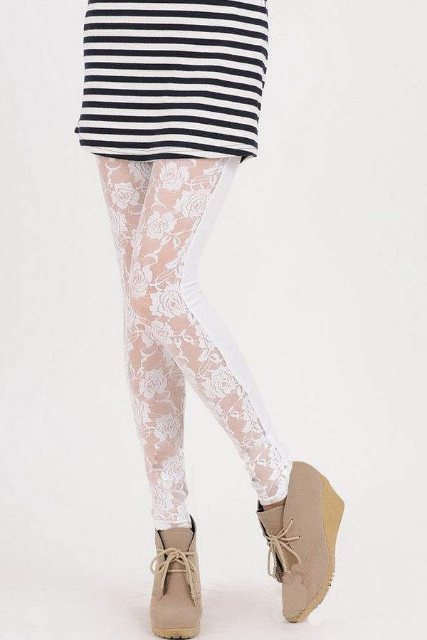 presenting authentic quality differently Legging Dentelle Blanc ultra Sexy