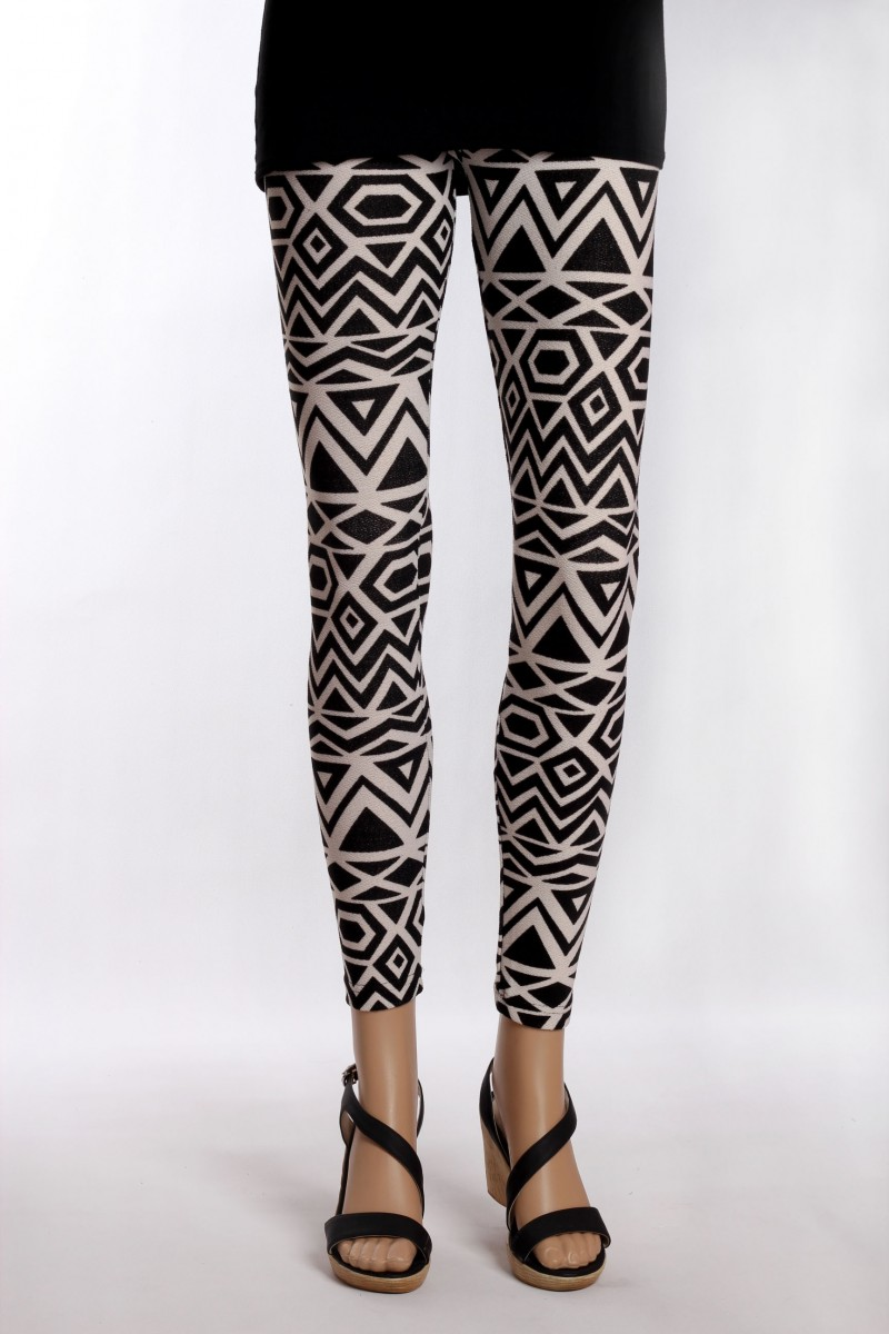 unique design get new authorized site Legging Fantaisie Noir & Blanc Motifs Losanges